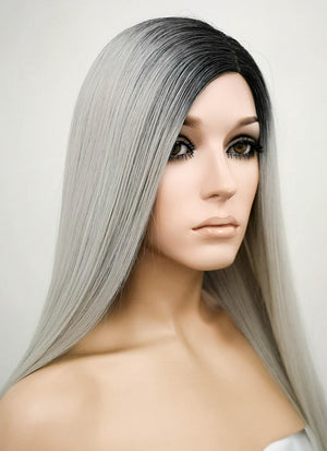 Grey With Dark Roots Mono Parted Glueless Lace Wig MP013