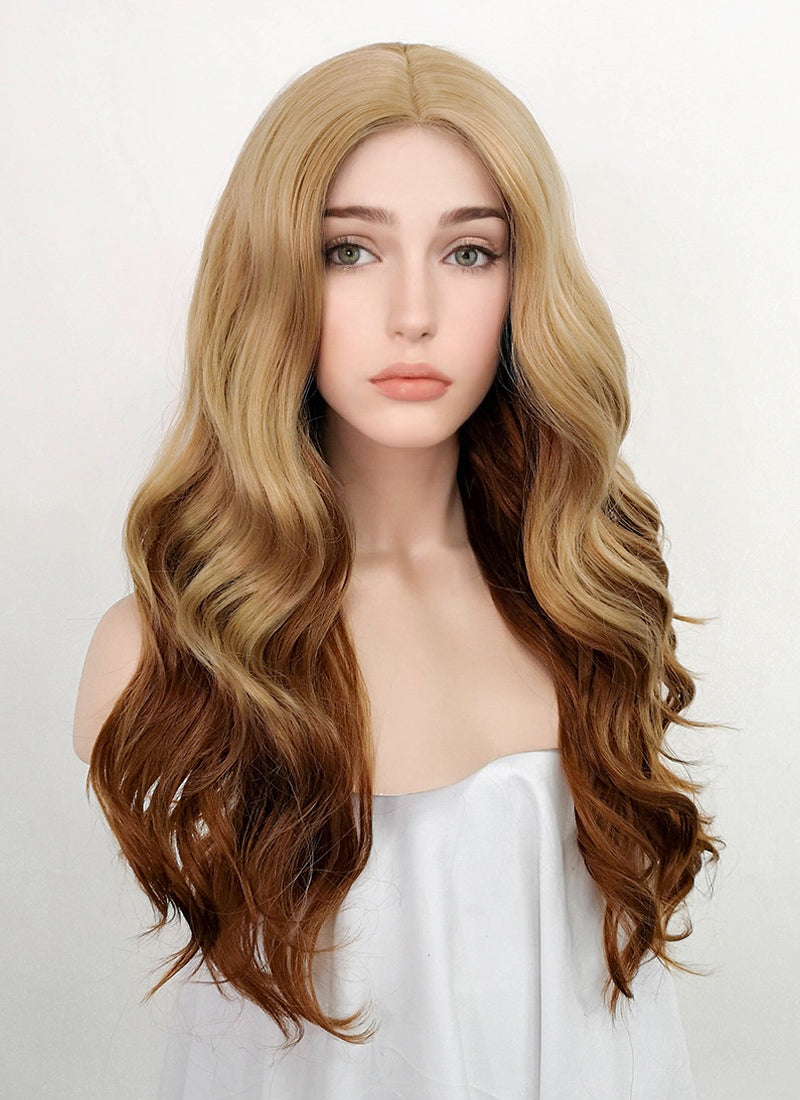 Blonde Brown Ombre Wavy Synthetic Wig NL037