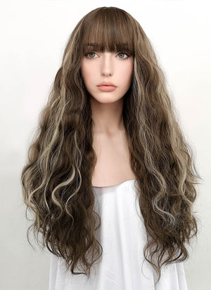 Brunette Mixed Blonde Wavy Synthetic Wig NS034