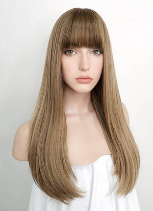 Blonde With Brown Roots Straight Synthetic Wig NS096