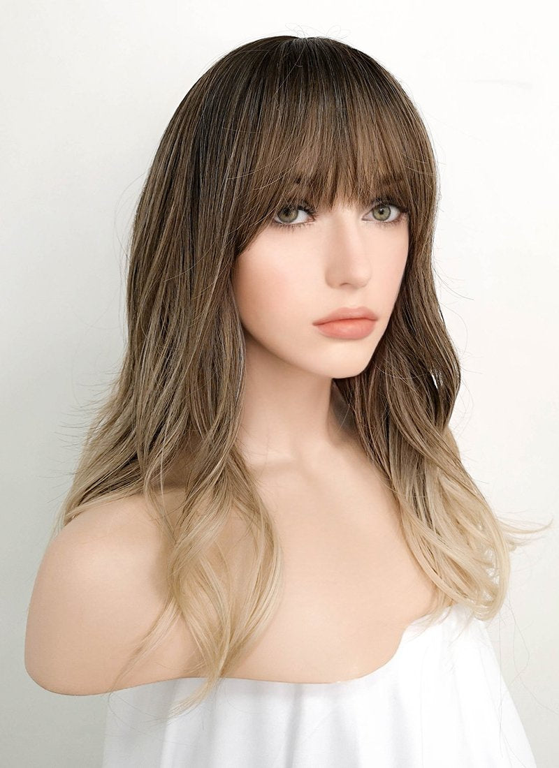Brown Blonde Ombre With Dark Roots Wavy Synthetic Wig NS097