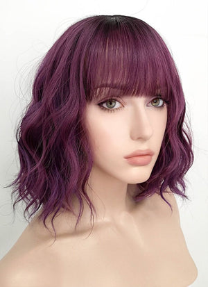 Mixed Purple With Dark Roots Wavy Bob Synthetic Wig NS114