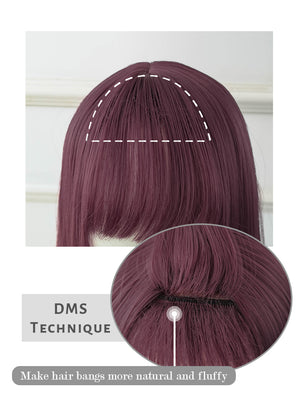 Two Tone Purple Straight Synthetic Wig NS157