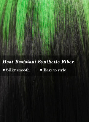 Billie Eilish Black With Green Roots Straight Synthetic Wig NS172