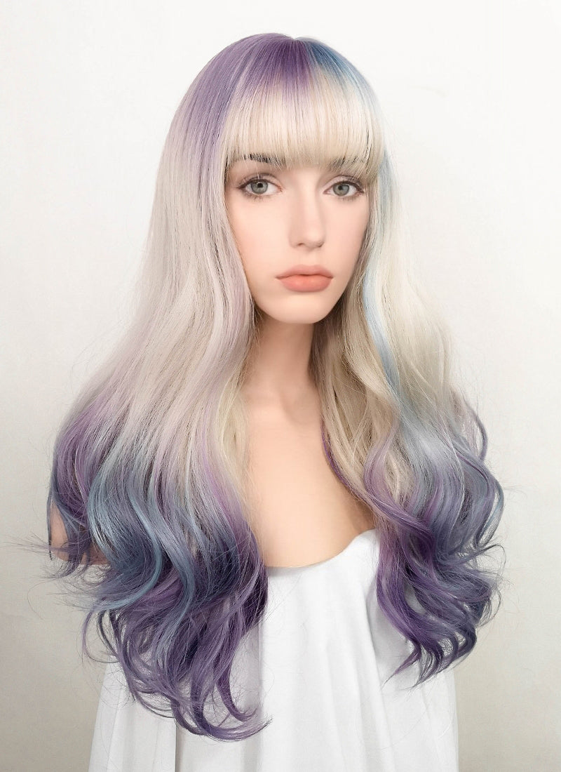 Purple Blue White Mixed Wavy Synthetic Wig NS179