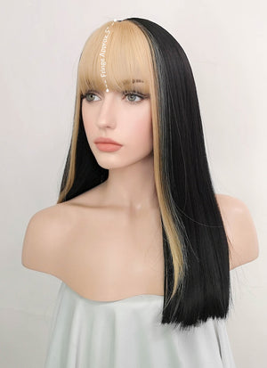 Black Mixed Blonde Straight Synthetic Wig NS180