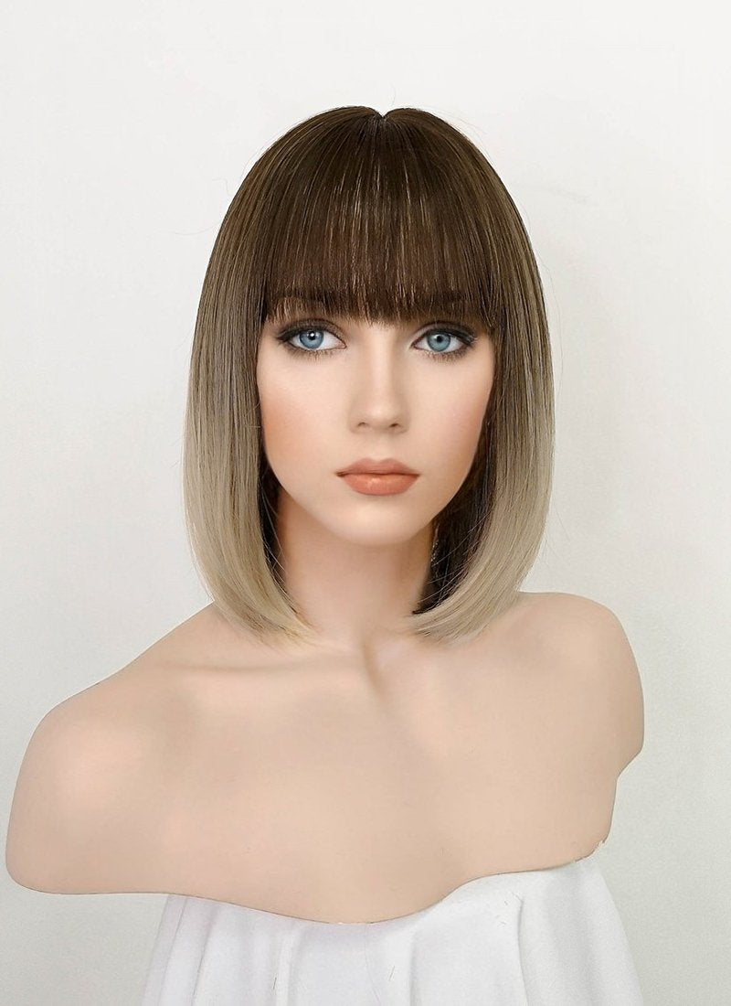 Two Tone Brown Straight Bob Synthetic Wig NS183
