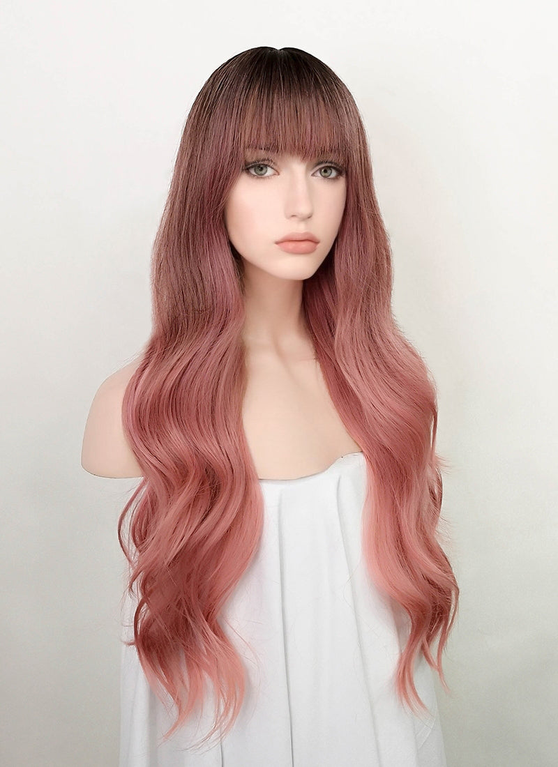 Pink With Dark Roots Wavy Synthetic Wig NS186