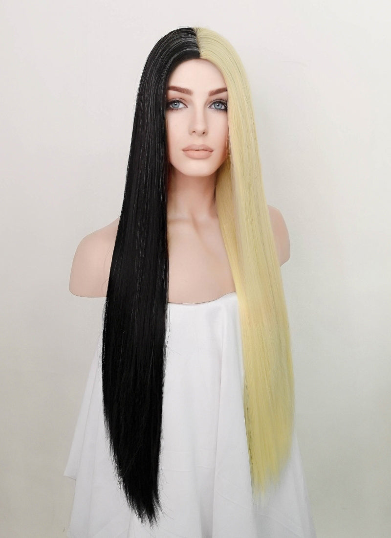 Black Blonde Split Color Straight Synthetic Wig NS198
