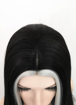 Black Mixed White Straight Synthetic Wig NS199