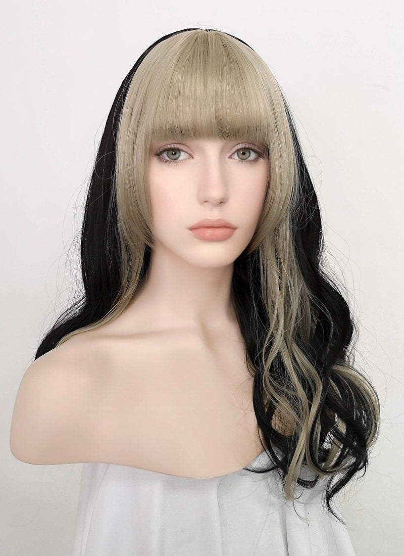 Light Ash Blonde Mixed Black Wavy Synthetic Wig NS205