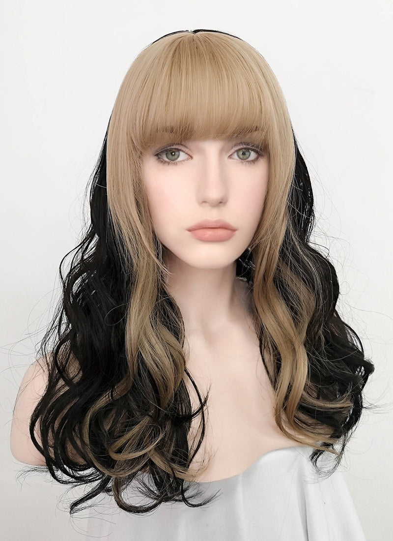 Blonde Mixed Black Wavy Synthetic Wig NS206