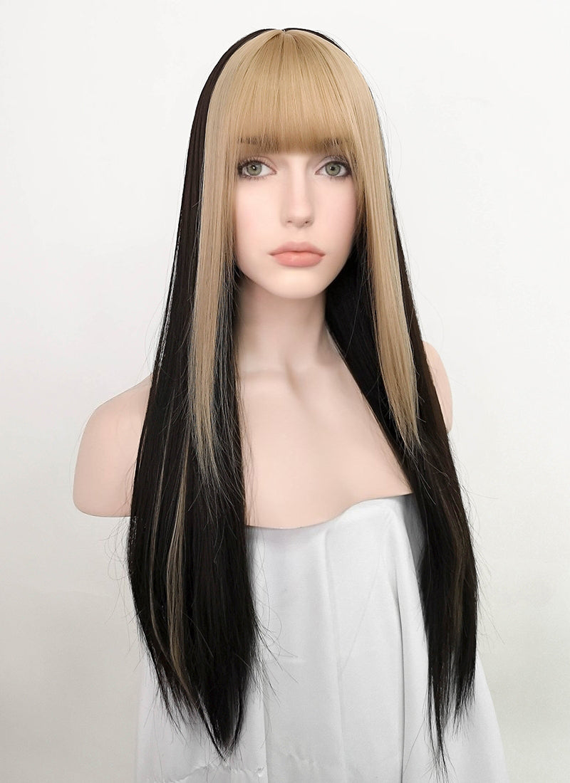 Blonde Mixed Black Straight Synthetic Wig NS208