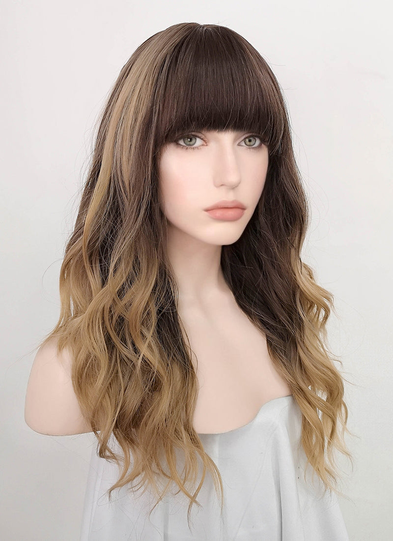 Two Tone Brown Wavy Synthetic Wig NS217