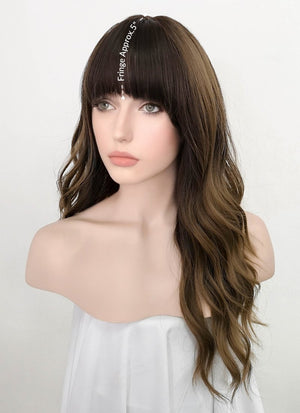 Two Tone Brown Wavy Synthetic Wig NS228