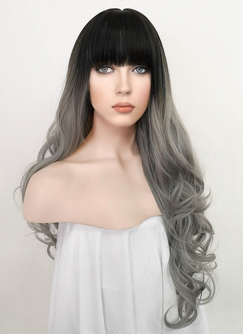 Grey With Dark Roots Wavy Synthetic Wig NS233