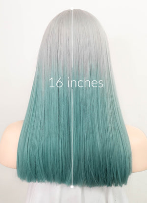 Grey Blue Ombre Straight Synthetic Wig NS237