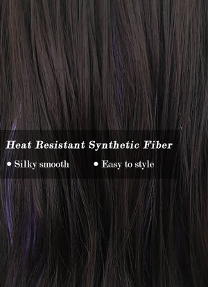 Brunette Mixed Purple Wavy Synthetic Wig NS244