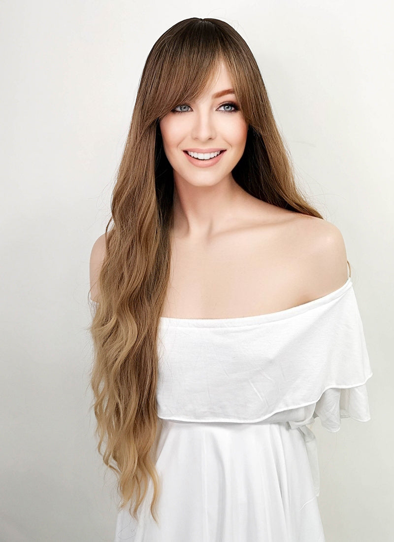 Two Tone Blonde With Dark Roots Wavy Synthetic Wig NS123