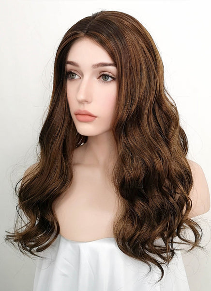 "20"" Wavy Mixed Brown Synthetic Wig NW066"