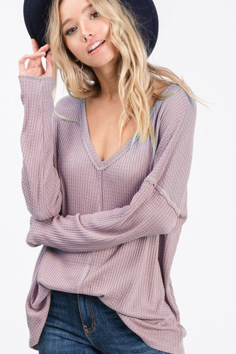Thermal Waffle V-Neck Top