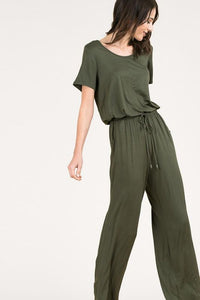 Short Sleeved Drawstring Waist Long Jumpsuit
