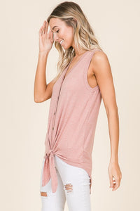 Tie-Front V-Neck Button Down Tank