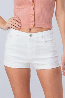 Washed Denim Shorts with Folded Hem - More Colors Available