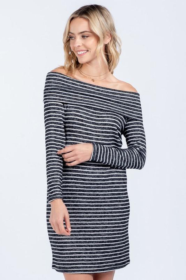 Striped Off-the-Shoulder Striped Sweater Dress
