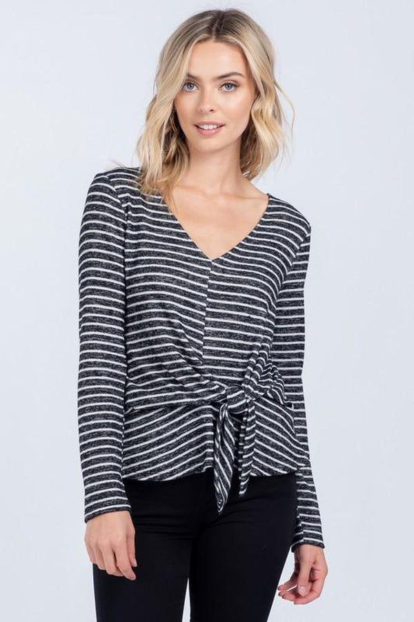 Striped Knit V-Neck Sweater with Front Tie Detail