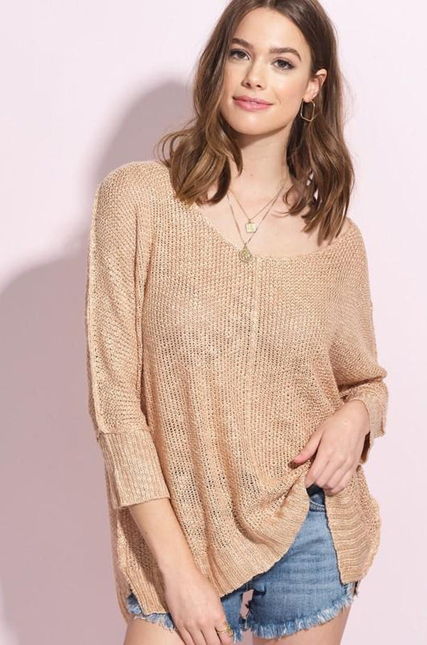 Oversize Slouchy V-Neck Open Weave Sweater