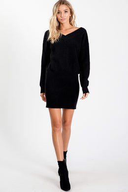 Black V-Neck Sweater Dress