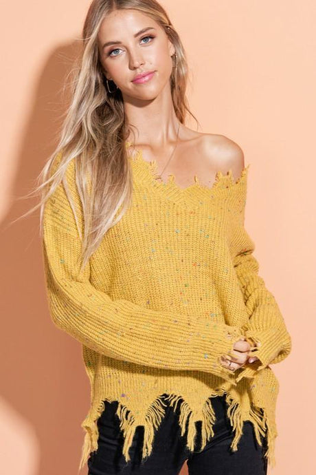 Destroyed Collar Confetti V-Neck Sweater