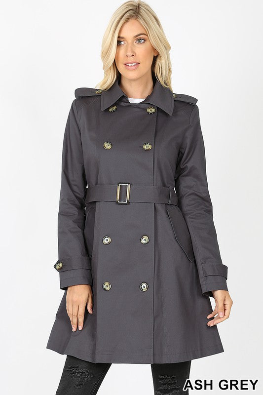 Double Breasted Cotton Twill Thigh Length Trench Coat