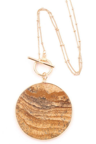 Brown Stone Disc Lariat Necklace