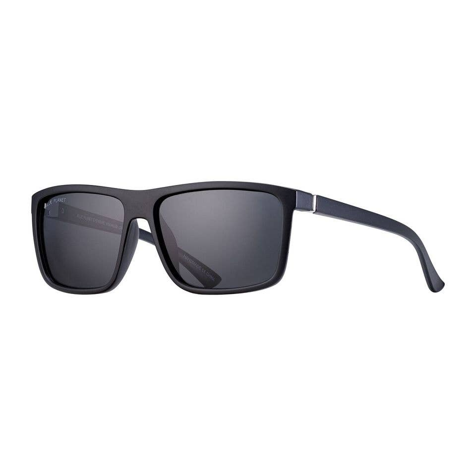 Blue Planet Eco-Eyewear - Landen - Matte Onyx + Silver / Smoke Polarized Lens
