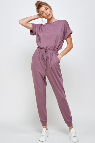 Roll-Sleeve Short Sleeved Jogger Jumpsuit