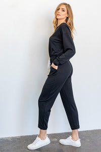 Long-Sleeved Wide Neck Jumpsuit with Pockets