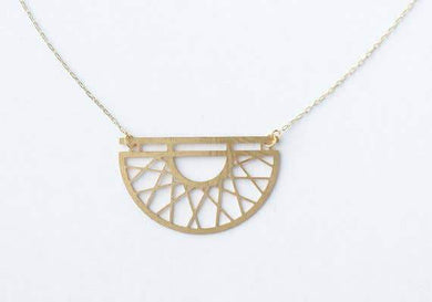 A Tea Leaf Jewelry - Art Deco Semicircle Necklace | Brass