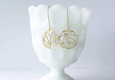 A Tea Leaf Jewelry - Faceted Geometric Sphere Earrings | Brass