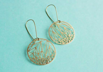 A Tea Leaf Jewelry - Circle Geometric Earrings | Brass
