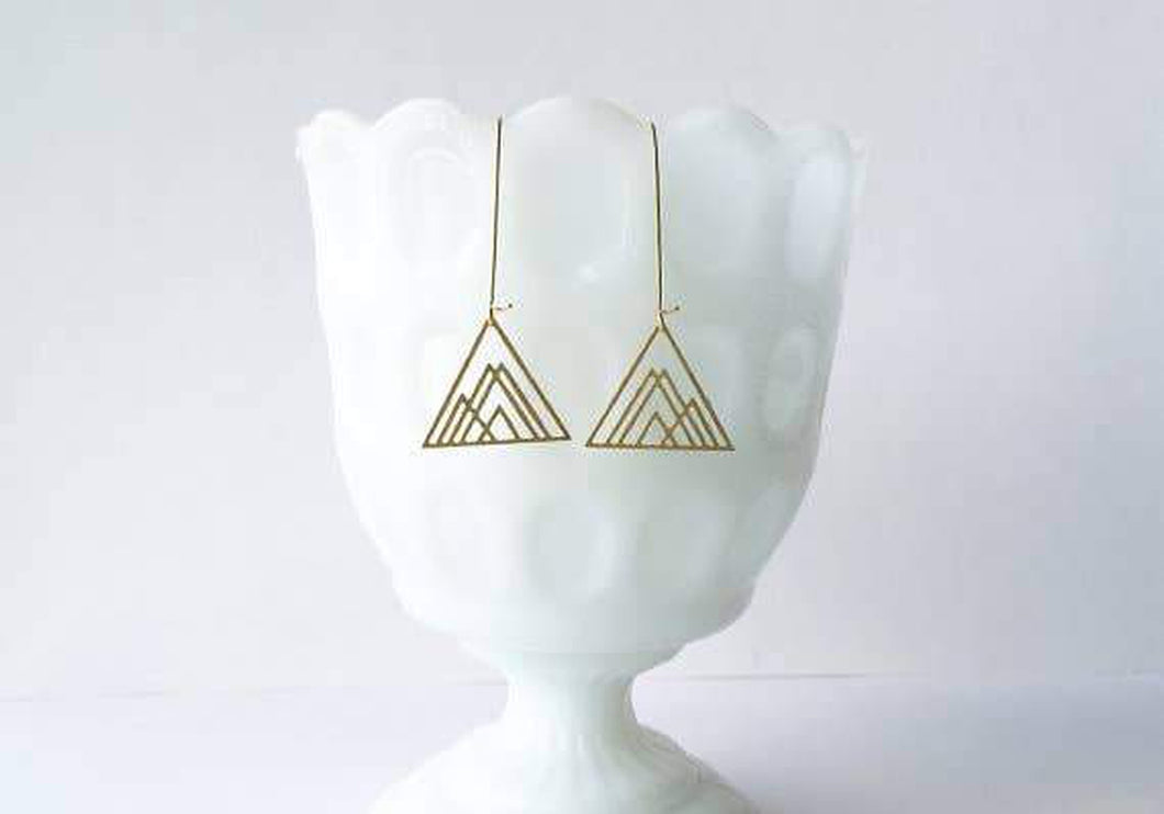 A Tea Leaf Jewelry - Overlapping Triangles Earrings | Brass