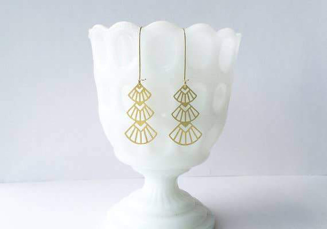 A Tea Leaf Jewelry - Art Deco Triangles Stacked Earrings | Brass