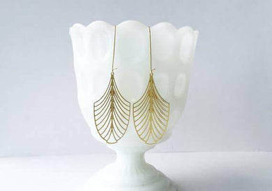 A Tea Leaf Jewelry - Art Deco Leaf Earrings | Brass