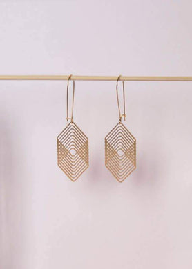 A Tea Leaf Jewelry - Overlapping Squares Earrings | Brass