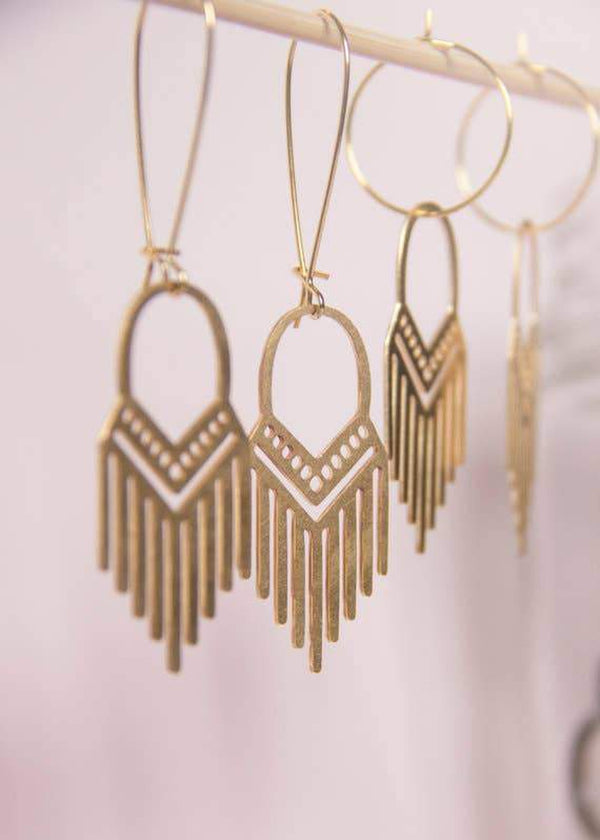 A Tea Leaf Jewelry - Tribal Fringe Earrings | Brass