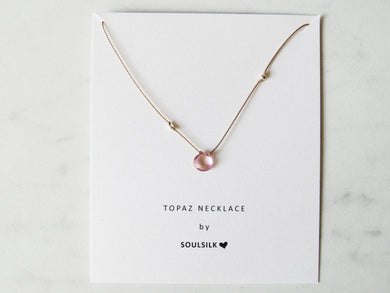 Soulsilk - Pink Topaz Silk Necklace Card