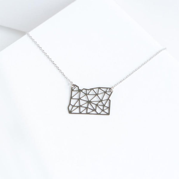 A Tea Leaf Jewelry - Oregon State Geometric Necklace | Stainless Steel