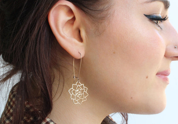 A Tea Leaf Jewelry - Succulent Earrings | Stainless Steel