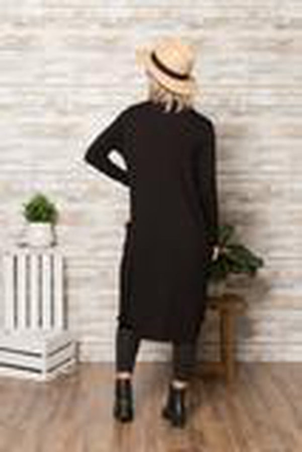 Long-Sleeved Hacci Duster with Pockets